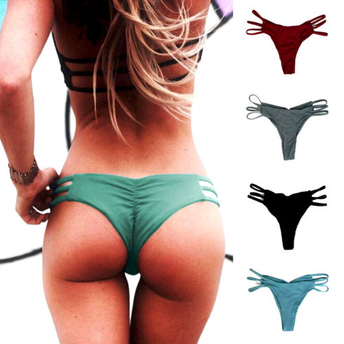 Brazilian Women Ladies Thong Cheeky Ruched Bikini Bottom Swimwear Mid Waist Bandage Panties Beachwear 1