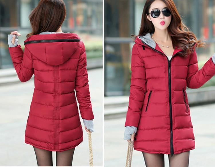 HTB1uHcpXrsTMeJjSszdq6AEupXak 2019 women winter hooded warm coat slim plus size candy color cotton padded basic jacket female medium-long jaqueta feminina