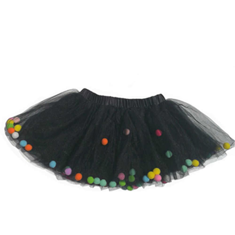 21dbcd184 ... 2018 New Baby Girls Colorful Tutu Pom Pom Birthday Tutus Kids Infant  Tulle Tutu Skirt ...