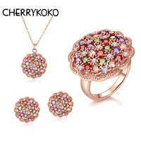 Hot 2017 Austrian Crystal Jewelry Set For Women Rose Gold Color Round Style Pendant Earrings Ring