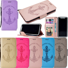 Mermaid Anchor Leather Flip Wallet Soft Phone Silicone Cover Shell Stand Coque for Apple iPhone 5 5S SE 6 6S 7 8 Plus X Case