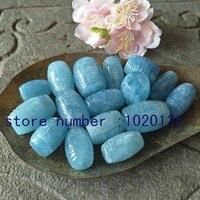 한 pcs aquamarines 기둥 모양 15*25 mmcarved 꽃 느슨한 비즈 자연 비즈 FPPJ 도매