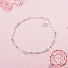 Простой Модный 925 пробы Серебряный браслет для женщин бусины Двойная Цепочка pulseira браслеты подарок S-B127