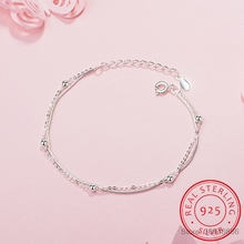 Simple Fashion 925 Sterling Silver Bracelet For Women Beads Double Chain pulseira Bracelets Bangles Gift S-B127