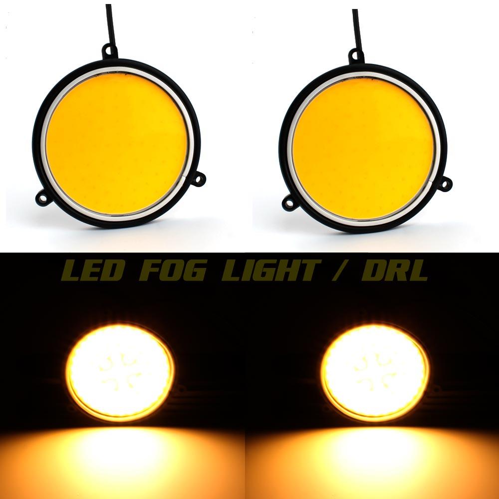 2шт супер яркий 12 В из светодиодов Противотуманные фары DRL cob ДХО 30W круглая диаметр 90мм автомобиль дневного света ДРЛ желтый