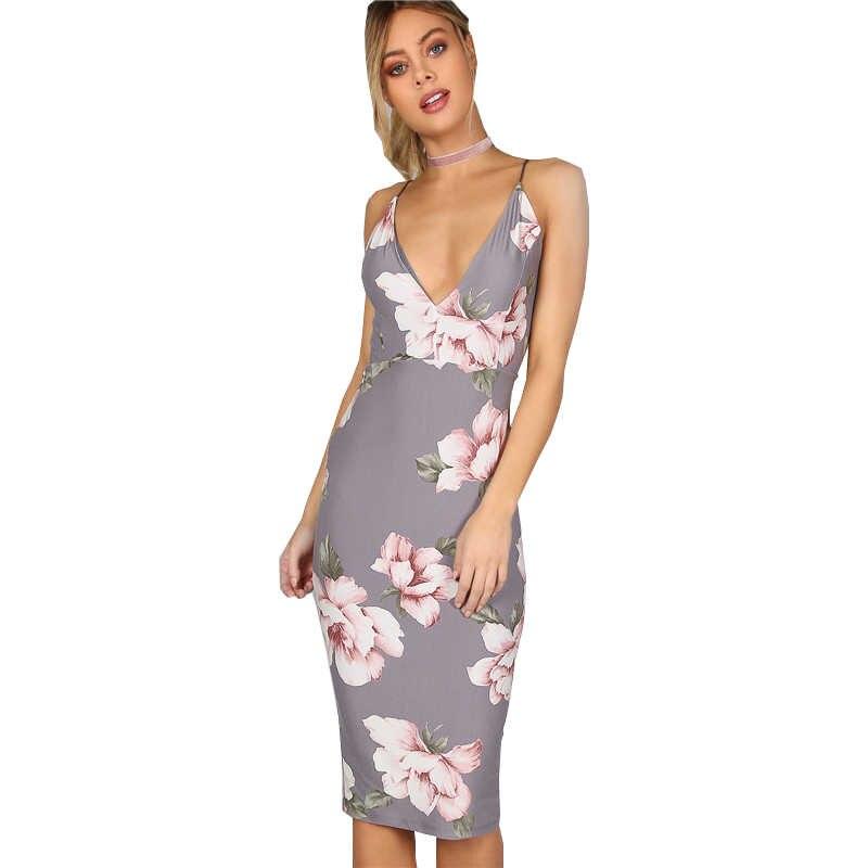 2019 קיץ שמלות נשים של פרח דפוס הדפסת AliExpress Slim ללא משענת באורך הברך שמלת נשים של בגדי Vestidos BLK1360