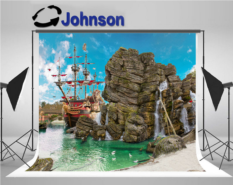 pirate ship backwater tropical pirate island big rock skull scene backgrounds Vinyl cloth Computer print party backdrop