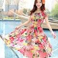 Novas mulheres estilo longo das mulheres vestidos de roupas de verão boêmio roupas femininas casual dress