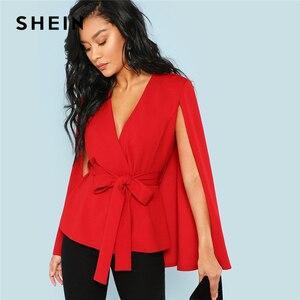 SHEIN الأحمر أنيقة مكتب سيدة فتح بلاكيت العميق V الرقبة عباءة كم الصلبة السترة 2018 الخريف Highstreet المرأة معطف قميص