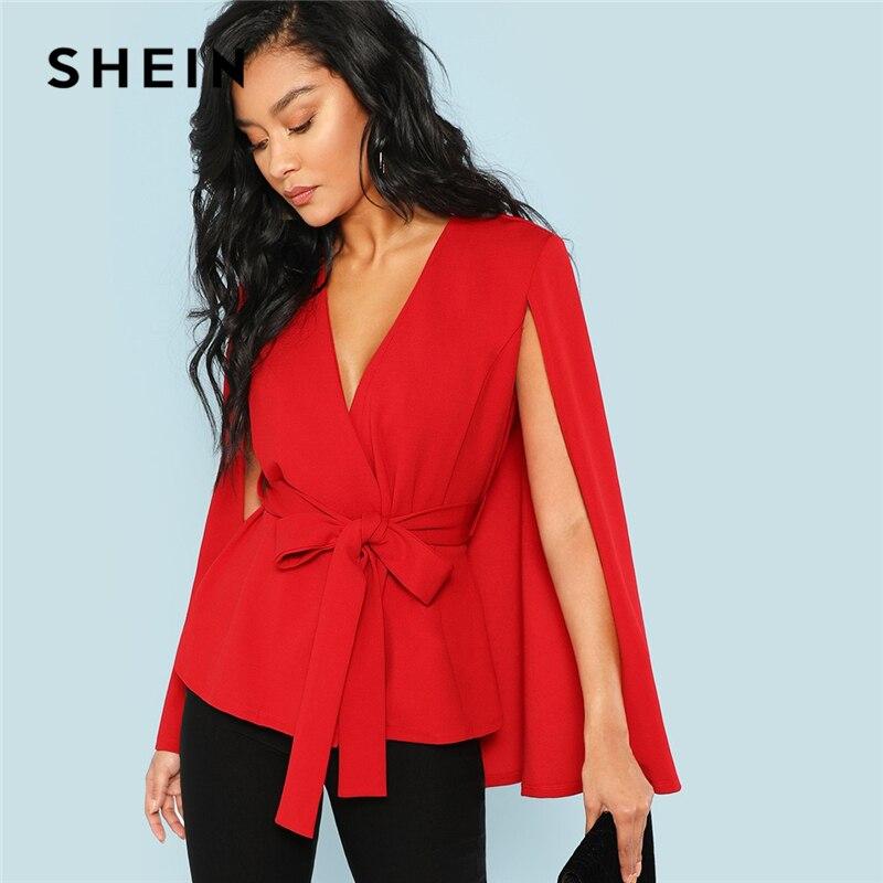 28061f4485e8 Cheap SHEIN rojo elegante Oficina dama abierto Placket profundo cuello pico  capa manga sólida Blazer 2018