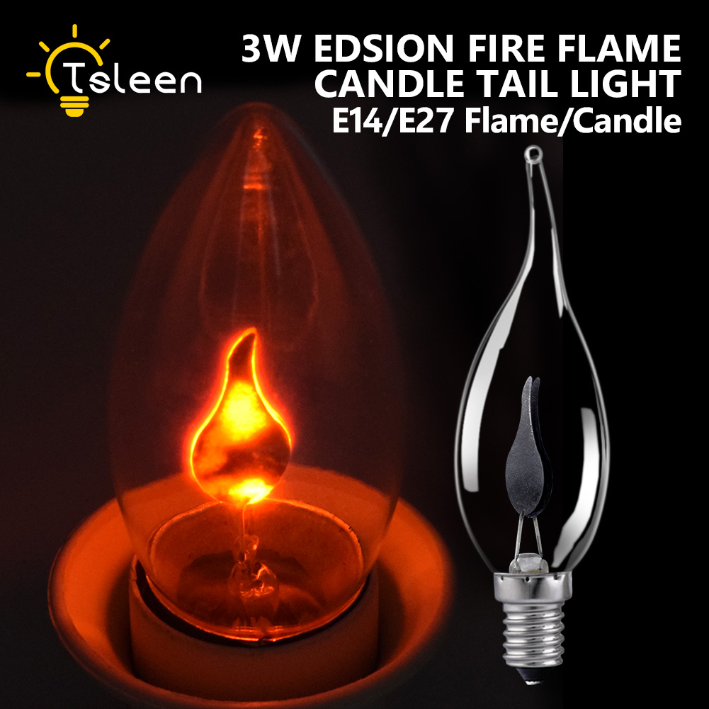 TSLEEN 3W Vintage Edison Light Bulb E27 E14 Energy Saving Retro Fire Flame Candle Light Bulb Lamp Chandelier Lighting 220V 240V half sleeves scoop neck pleats lace up prom dress
