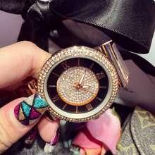 Luxurious Girls Trend Watches Rome Namerals Women Gold Metal Quartz Watch Crystal Rhinostone Wristwatches Relogio Feminino OP001
