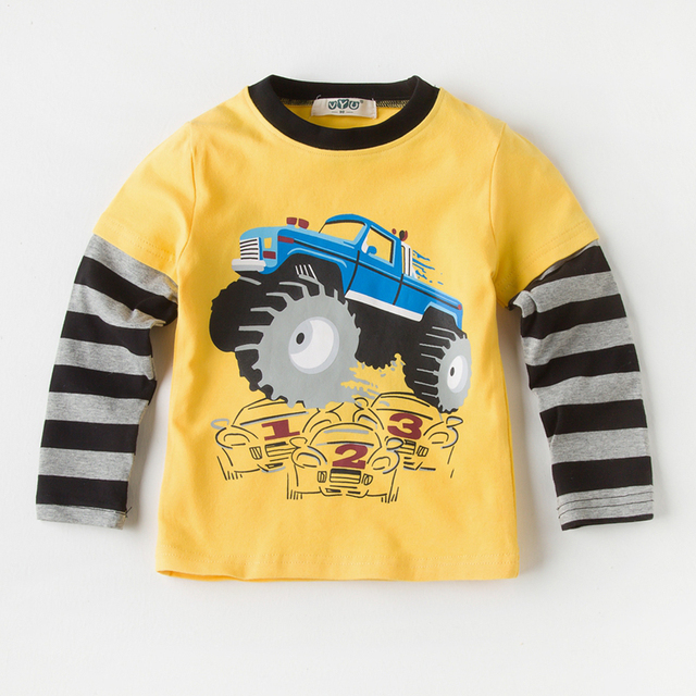 ef9f0ac451f Boys Top Autumn 2018 Children Cotton t shirt Kids Casual Tee Shirt Cartoon  Car Print T-shirts Stitching Children Clothing