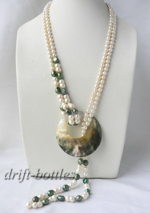 2Strands 18/'/' White Baroque Multicolor Round Freshwater Pearl Shell Necklace
