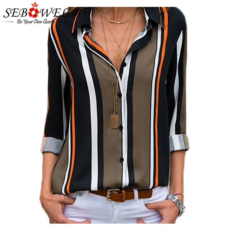 2018 Summer Striped Women Tops and Blouse Plus Size Casual Female Shirts Loose Office Ladies Workwear Blouse Shirts Tops SEBOWEL 4
