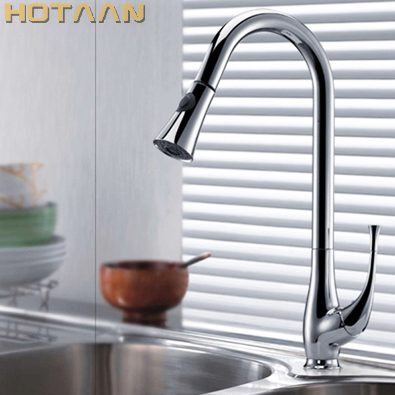 Perfect Chrome Plated Solid Brass Kitchen Faucet Pull Out Spray Deck Mounted Sink Mixer Taps Single Handle Faucet YT-6017 цена и фото