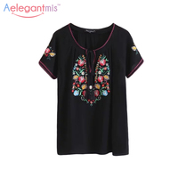 Aelegantmis Ethnic Short Sleeve Casual Embroidery Blouse Women Summer Loose Black Floral Embroidered Shirt Retro Tops