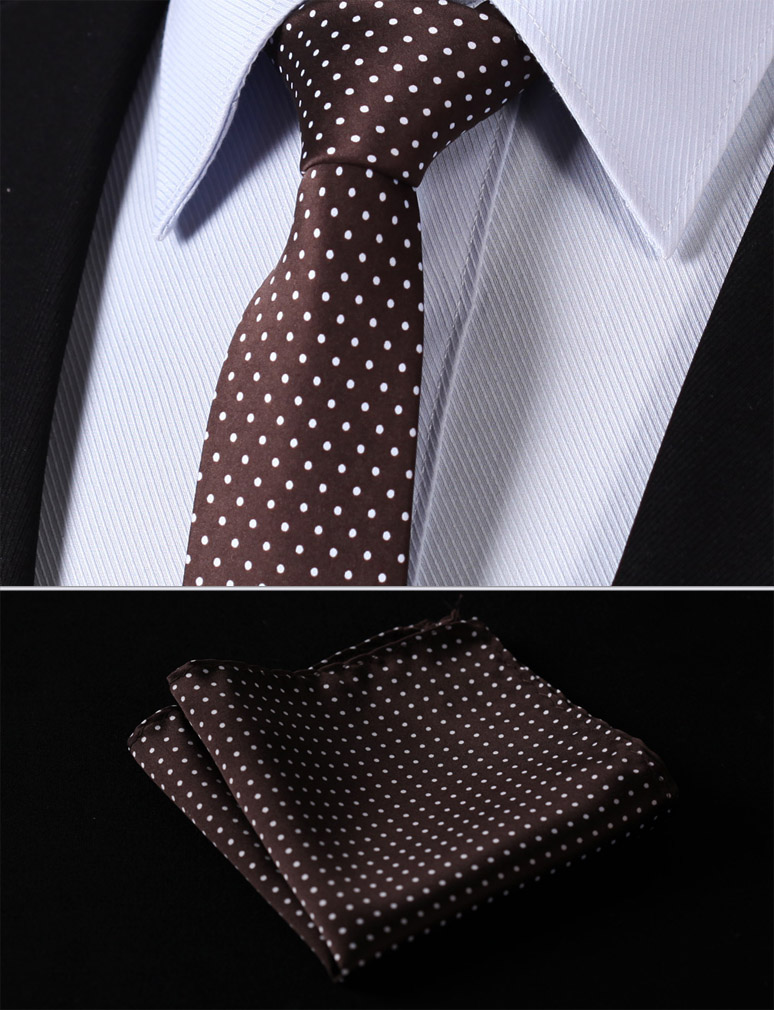 Man's Fashion Man's Accessories TD119Z6S Brown Polka Dot 2.4