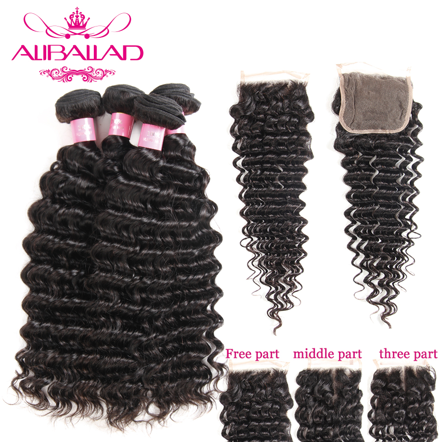 Peruvian Deep Wave Human Hair Bundles With Closure Double Weft Remy Hair Extensions 4 Bundles And