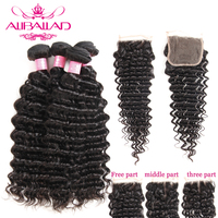 Peruvian Deep Wave Human Hair Bundles With Closure Double Weft Remy Hair Extensions 4 Bundles And Closure Aliballad Hair
