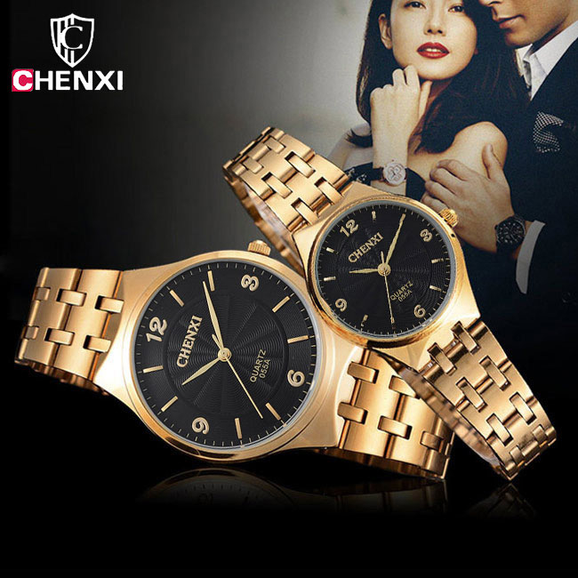 Chenxi gold geliebte uhr für männer frauen uhren top-marke luxus mode goldene armbanduhr quarzuhr männlich weiblich damen uhr