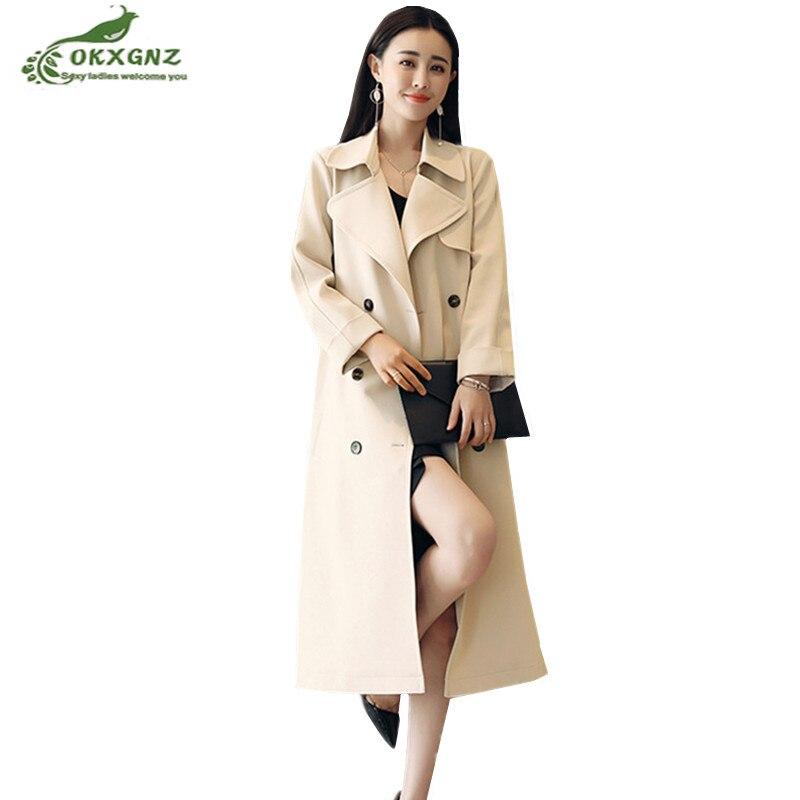 Windbreaker Women's Coat Medium Long 2019 Spring New Double-breasted Plus Size Outwear Slim Over Knee Autumn   Trench   Coat OKXGNZ