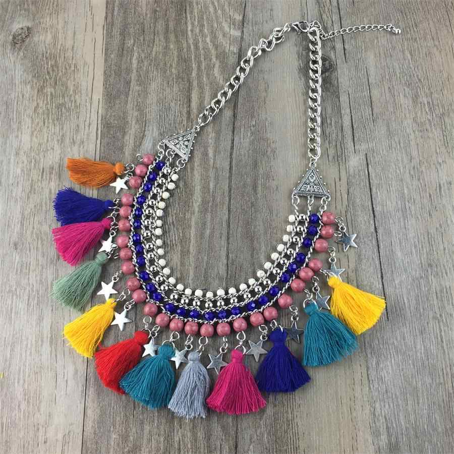 Fashion Women Necklace Bohemian Stone Beads Tassel Bib Statement Necklace Female 2018 Charms Choker Necklaces