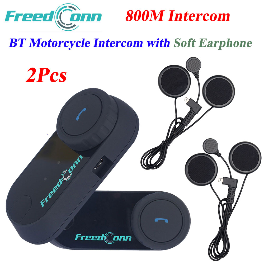 2Pcs FreedConn TCOM VB Moto Wireless Helmet Headset 800M Bluetooth Soft Earphone Interphone Motorcycle Intercom With FM Radio