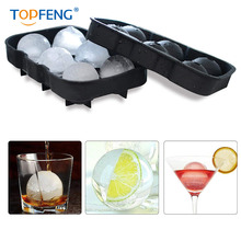 TOPFENG Silicone Ice Cube Trays Sphere Round Ball Maker and Large Square Mold - Black