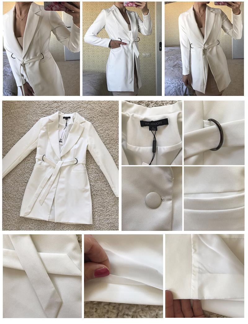 Hyh haoyihui kobiety dress vestidos bialy wysokiej talii dorywczo szczupła ol sukienki sexy plunge neck elegancka marynarka mini dress 5