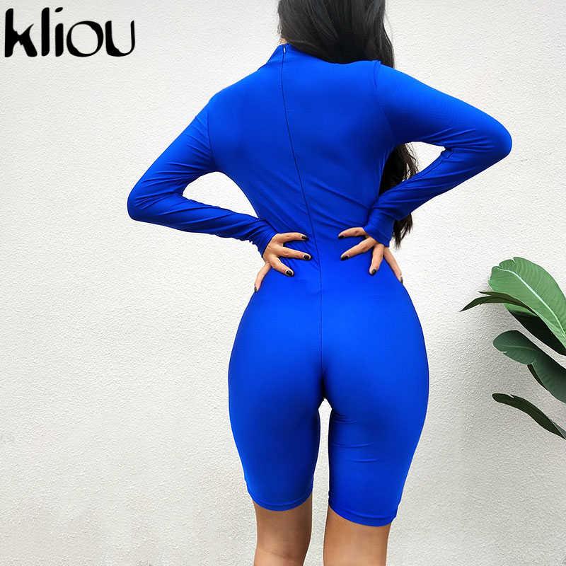 Kliou Женская мода королевский синий длинный рукав игровые водолазки 2018 осень женские обтягивающие сексуальные тренировки уличные Комбинезоны