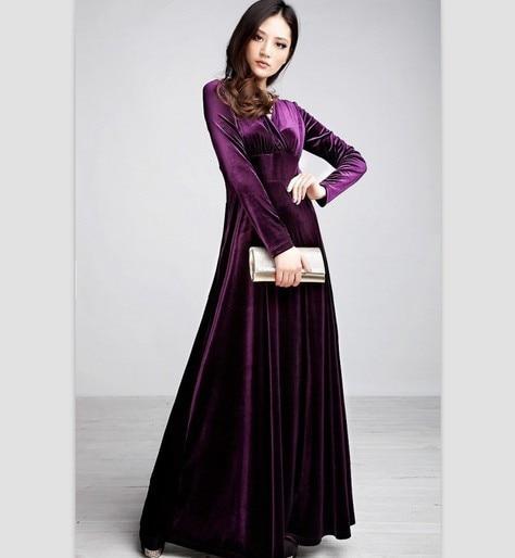 41cb6698fb2 2015 Women Winter Dark Green Blue Plus size S M XL XXL 3XL Vintage Maxi  Casual Dress Velvet Warm Dresses For tall GIRL D150904