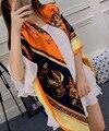 Classic Vintage Carriage mujeres bufanda elegante dama cuadrado grande bufandas bufandas de primavera caliente sol del verano Pashmina seda de la tela cruzada Wrap