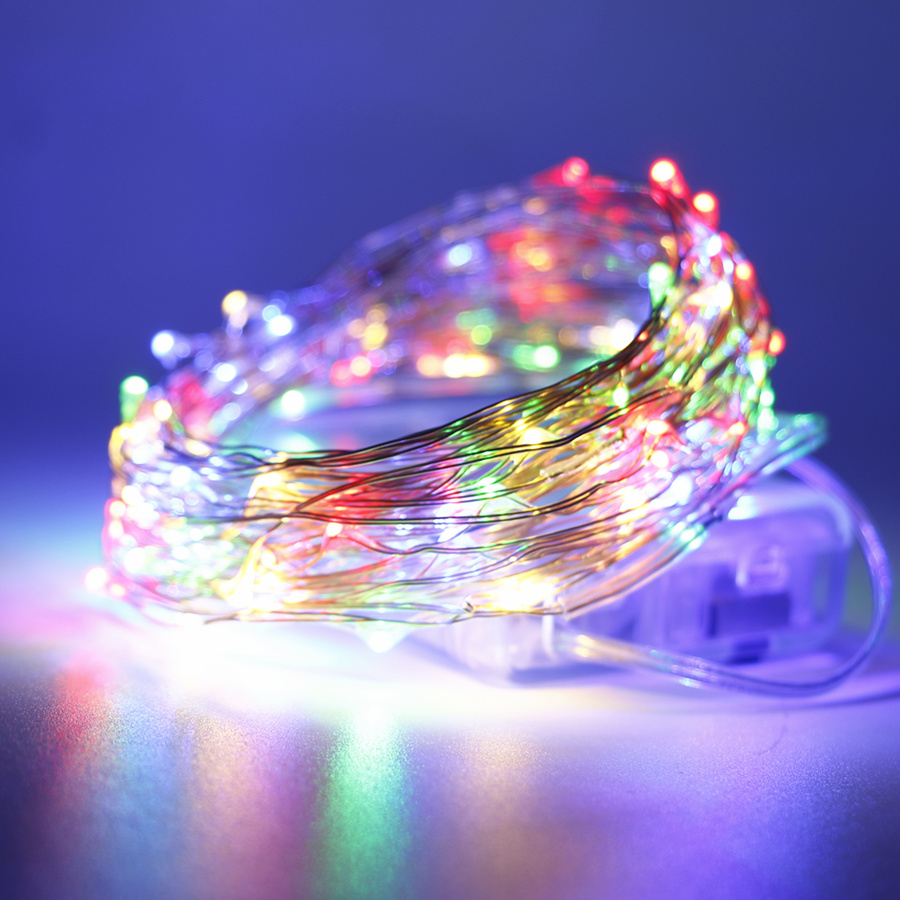 5V 5M 10M Battery Operated LED Strip Light RGB Led String Copper Wire Tape Holiday String Lighting Outdoor Fairy Christmas Tree