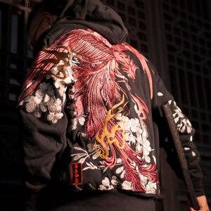 Image 2 - AreMoMuWha jesienią i zimą japoński ciężki haft męska bluza z kapturem Cherry Suzaku haft Harajuku czarny HoodieQX1096