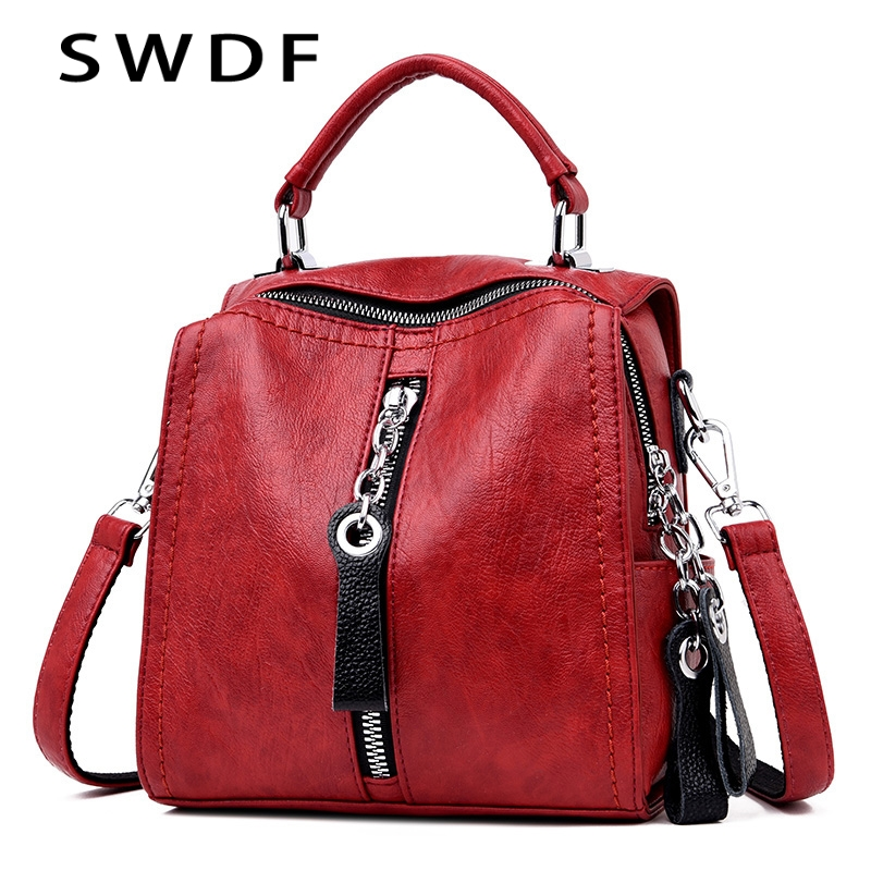 SWDF Bag For Women 2019 Designer Shoulder Crossbody Bag PU Leather Handbags Women Bags For Women Multifunction Bag Big Tote Sac