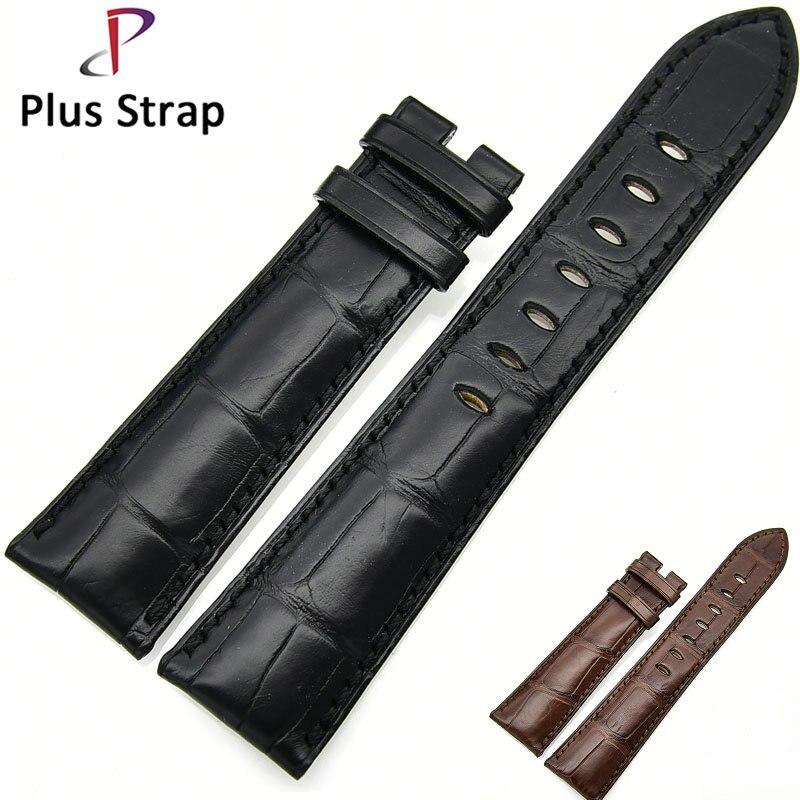 Plus Strap Black&Brown Watch Band Strap Replacement Crocodile Skin Genuine Leather Bracelet Men&Women Wristband genuine leather unisex wristband bracelet w 4pcs hemp cords brown 5 pcs