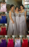 8 Color Cheap Bridesmaid Dresses Appliques Spaghetti Straps Sleeveless A Line Lace Up Floor Length Stock