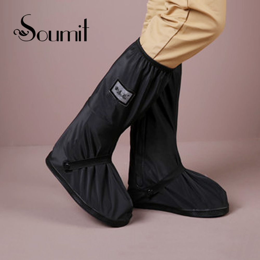 Soumit Reusable Non-slip Waterproof Rain Shoes Covers with Relectors Motorcycle Bike Boots Shoes Covers for Riding and Cycling soumit waterproof rain shoe cover for motorcycle cycling bike men women reusable boot overshoes boots shoes protector covers