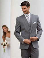 New style Best Sellers Notch Lapel Two Buttons Charcoal Gray Groom Tuxedos Suit Wedding Men's suits( jacket+Pants+vest+tie)