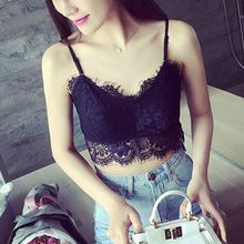 Sexy Lace Floral Bra Crop Top Hollow Out Camisole Bra Women V-Neck Vest Tank Tops