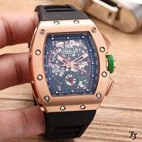 Элитный бренд новые резиновые для мужчин часы сапфир автоматические механические розовое золото серебристый, черный зеленый GMT Dual Time