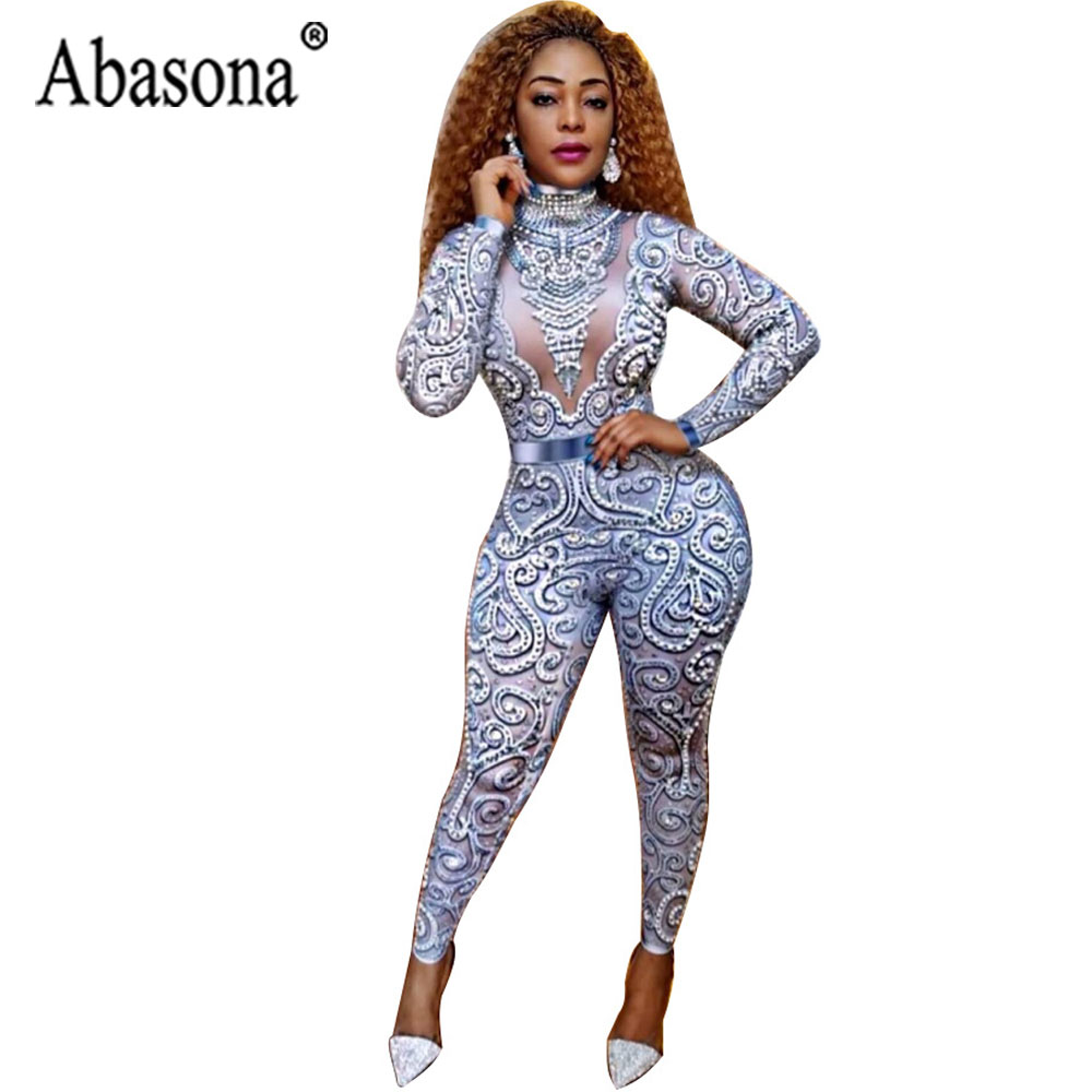 Abasona Vintage Print Sexy Bodycon Jumpsuit Women Long Sleeve Turtleneck Rompers Womens Jumpsuit Birthday Wear Party Outfit