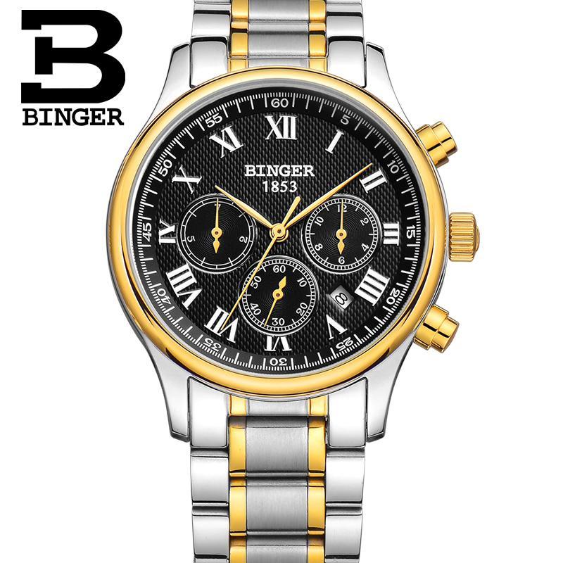 Automatic Watch Men Swisss Top Luxury Brand Watches BINGER Stainless Steel /Leather Band Roman Dial Men Clock Waterproof Relogio
