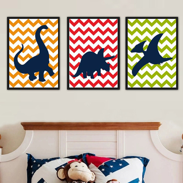 Cartoon Dinosaur Silhouette Chevron Dino Theme Canvas Paintings Nursery Wall Art Picture Party For Kids Boy