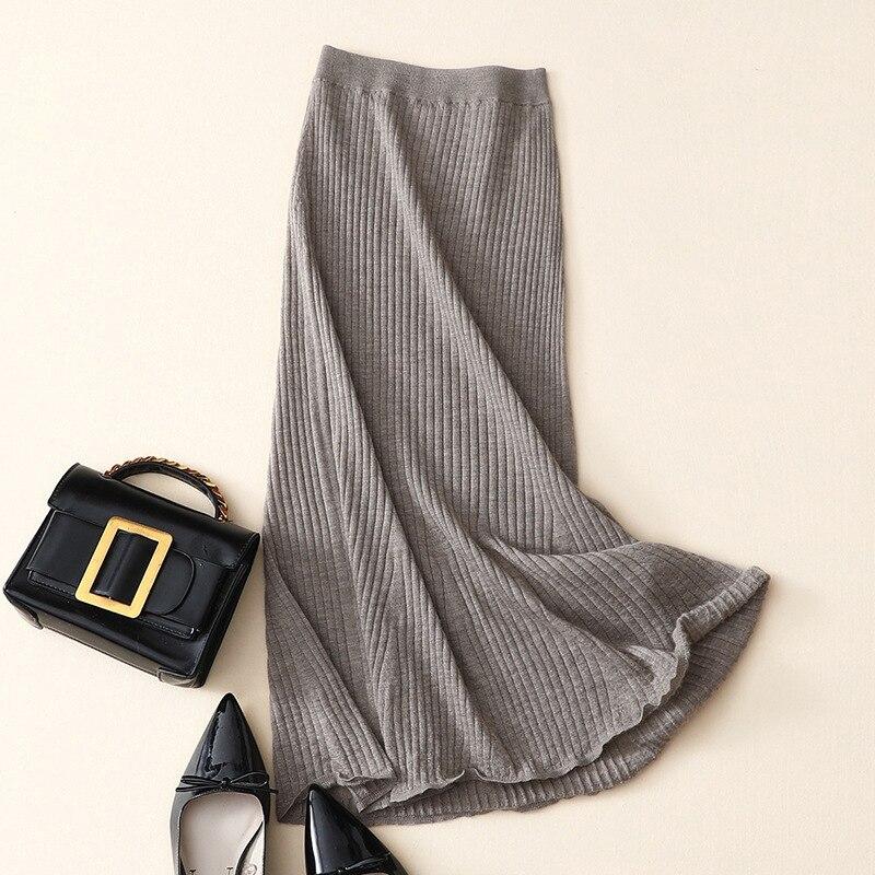 الصوفى 100% الكشمير طويلة النساء ضلع محبوك تنورة عالية الخصر-في تنورة من ملابس نسائية على  مجموعة 1