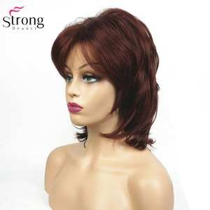 Image 4 - StrongBeauty peluca sintética para mujer, pelo negro, medio rizado, ombré, Auburn/postizo, Rubio Natural