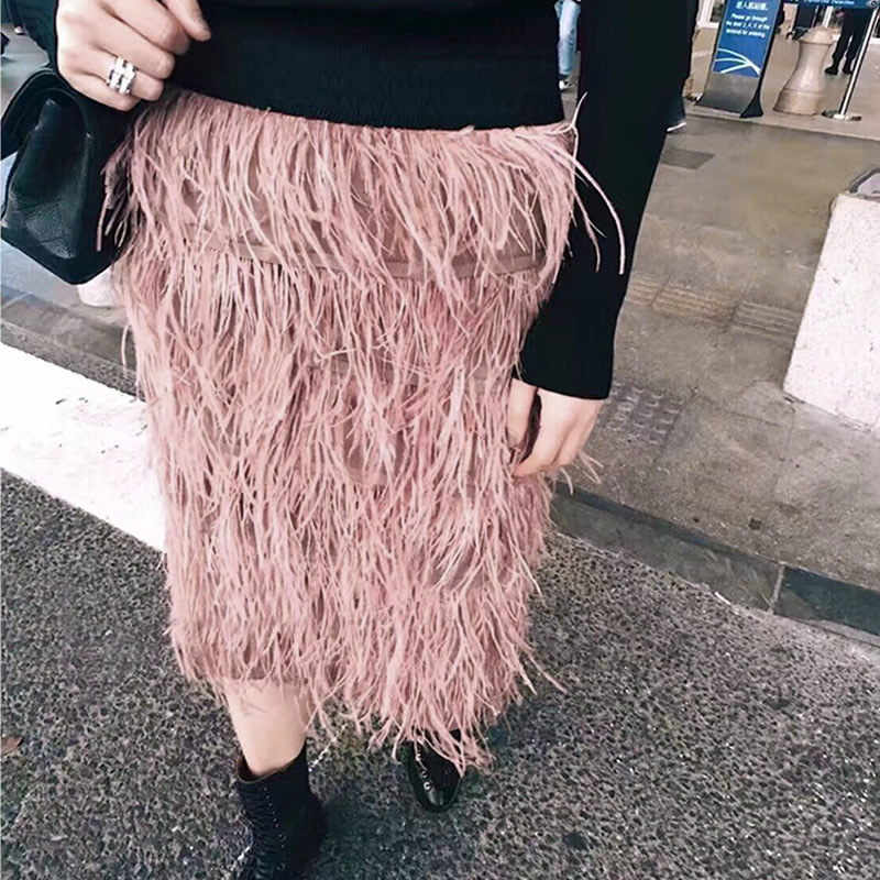 Hot Selling New Summer Women s Fashion Luxury Design High Stretched Wasit Feathers Straight Skirt Bodycon