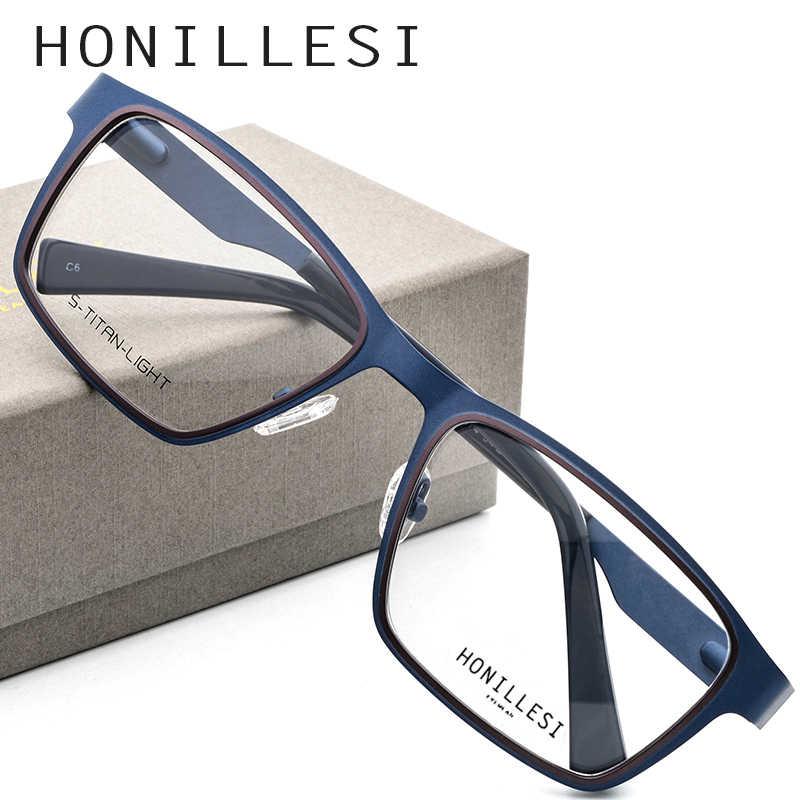 HONILLESI очки оправа мужские ультралегкие брендовые дизайнерские 2018 Мужские Винтажные квадратные Рецептурные очки для коррекции зрения в оправе очки
