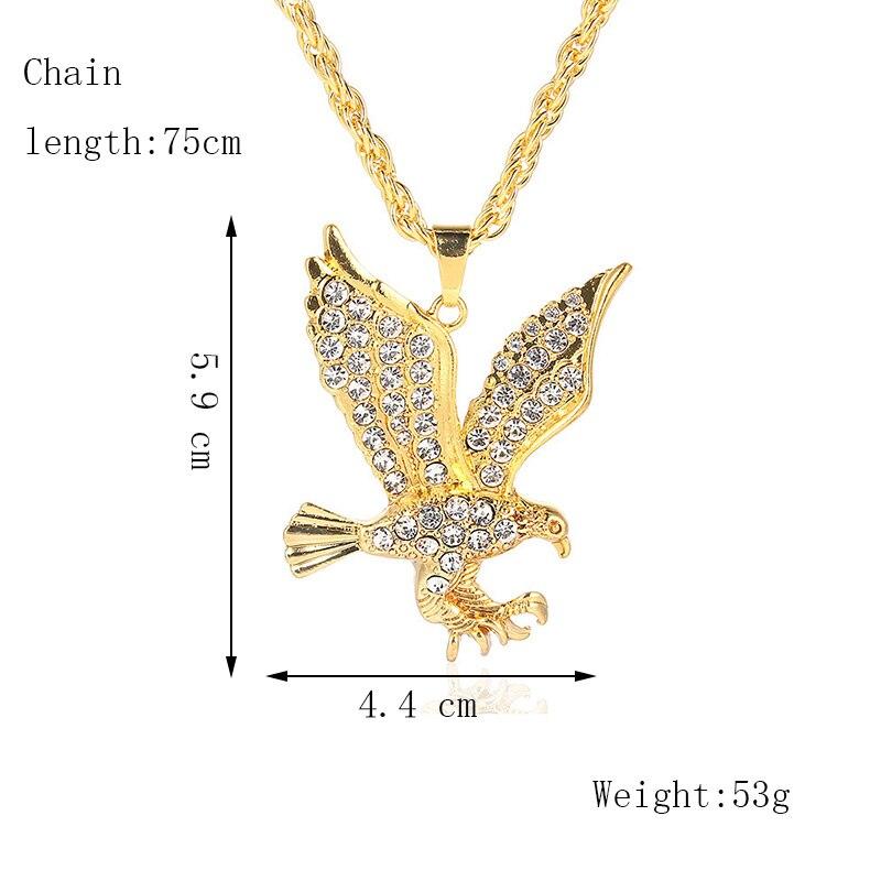 Хип-хоп ювелирные изделия Модные золотые длинные цепочки ожерелья для женщин и мужчин персонализированные буквы Орел молитвенный знак карта кулон ожерелье - Окраска металла: N117